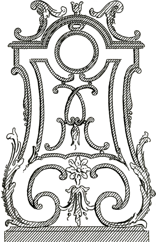 French architectural ornament illustration