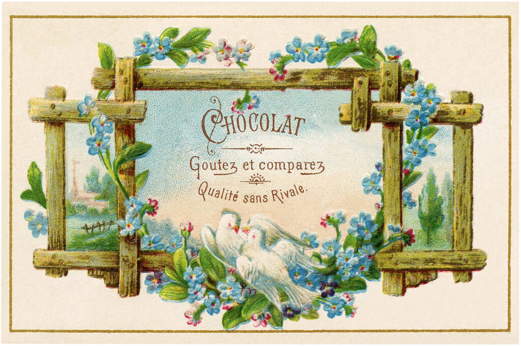 French chocolate Ad birds blue flowers vintage image