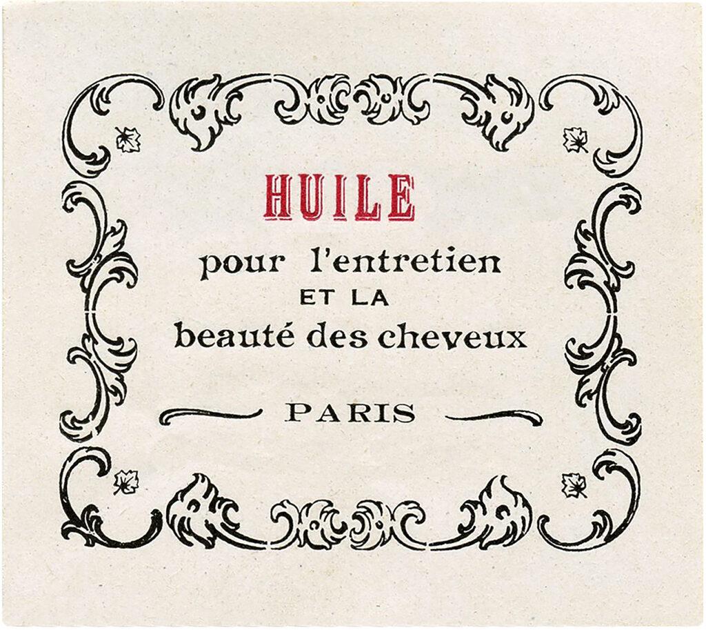 French oil label Paris vintage clipart