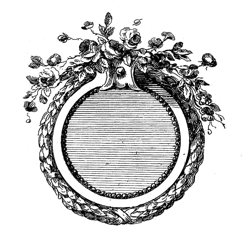 French wreath flowers engraving image