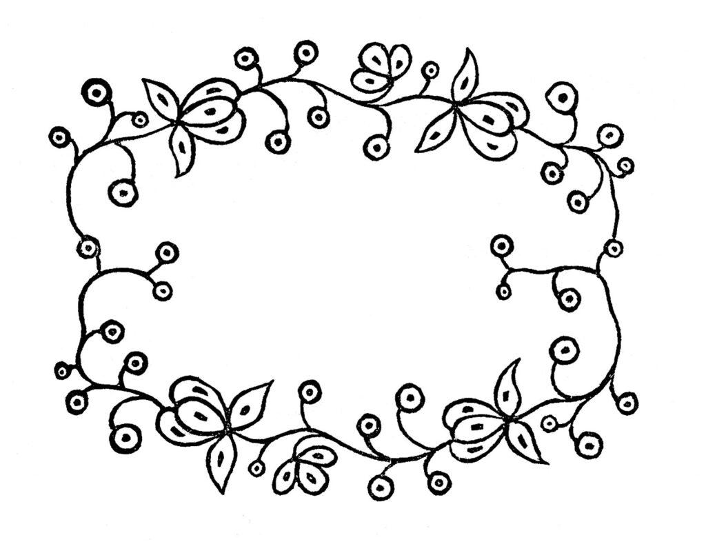 floral wreath sketch clipart