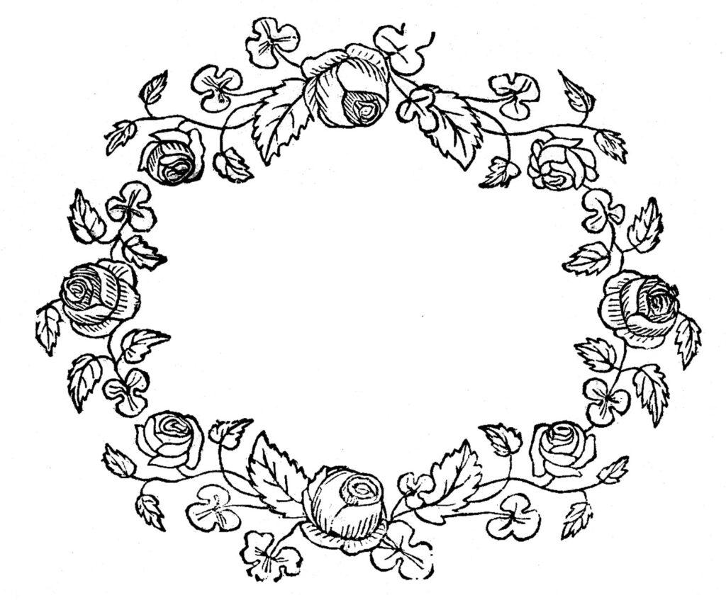 rose floral frame clipart