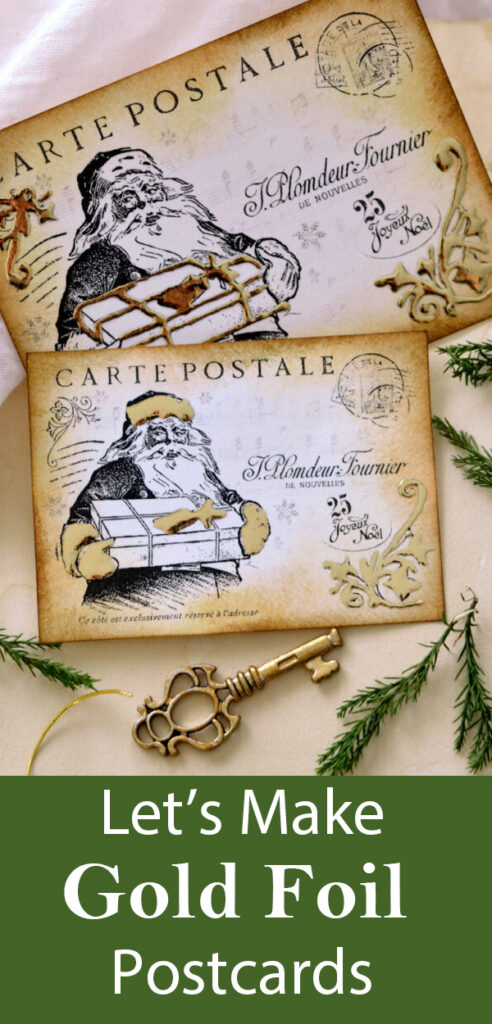 Gold Foil Postcards Christmas Project Pin