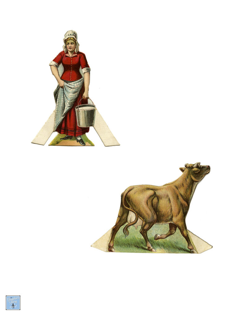 House Jack built paperdoll lady cow illustration