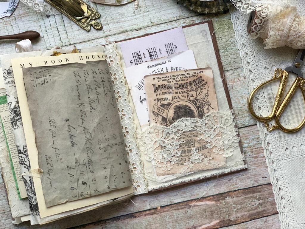 lace pocket junk journal spread