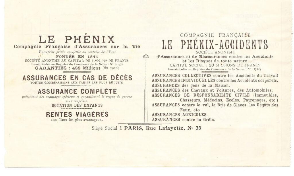 Le Phenix vintage French document image