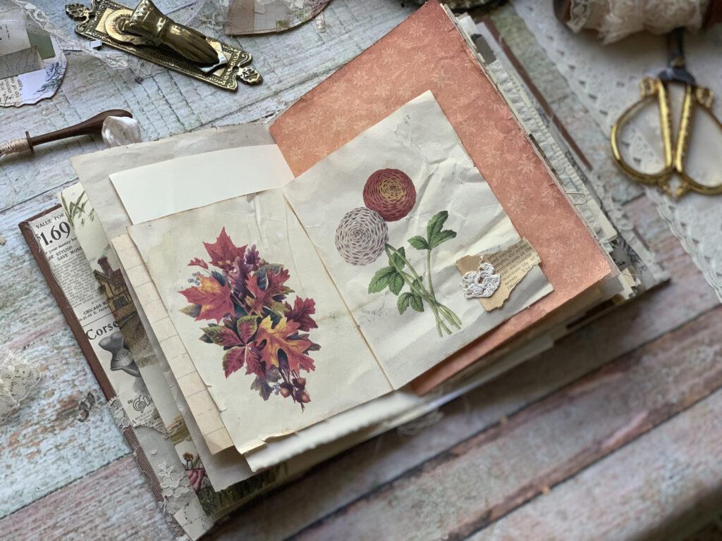 autumn leaves floral ephemera journal spread
