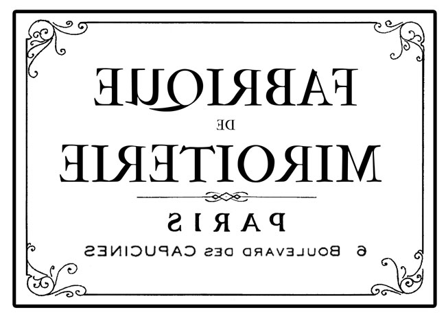French typography reverse transfer image
