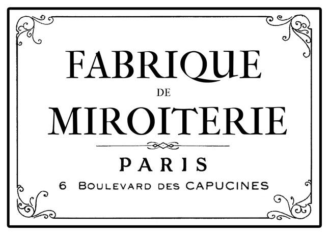 Fabrique Miroiterie Paris French typography image