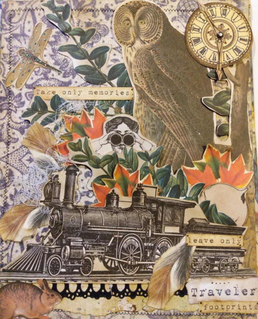 owl train bunny journal page