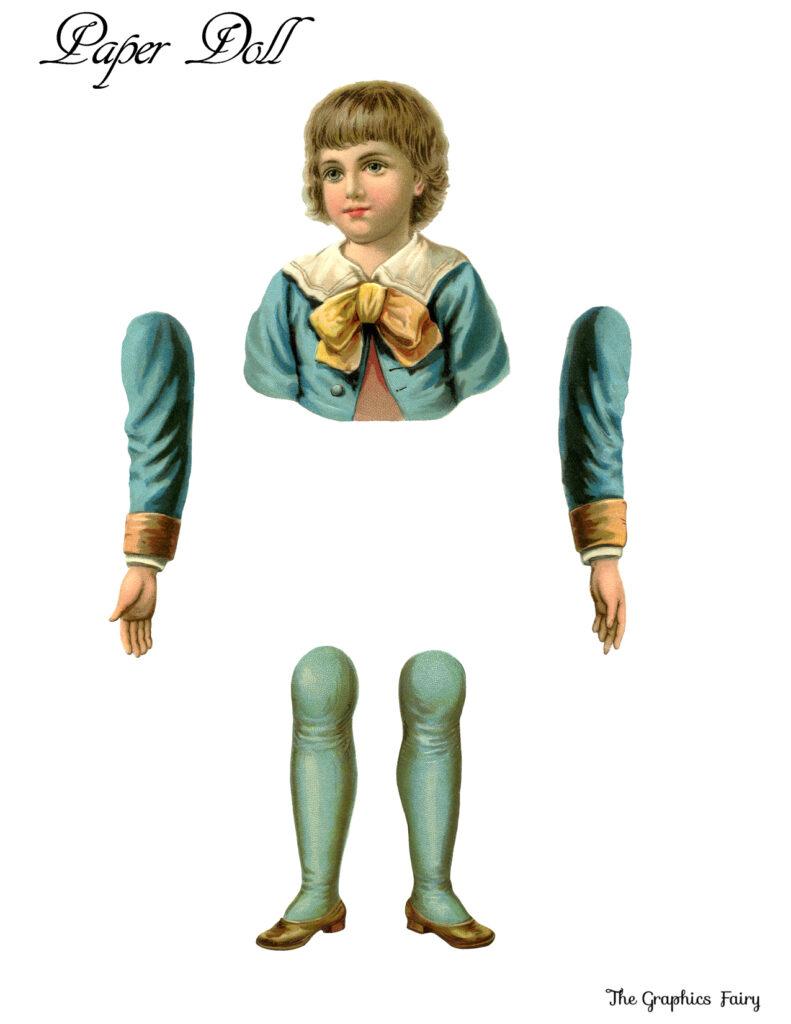 paper doll boy blue illustration