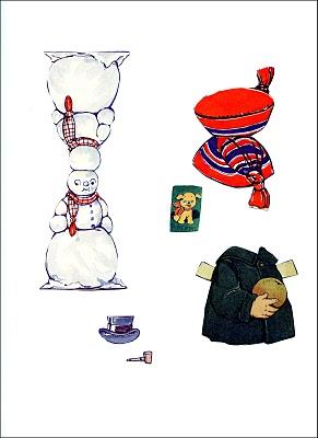 Vintage Paper Doll clothes snowman clipart
