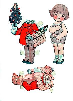 paper doll girl Christmas image