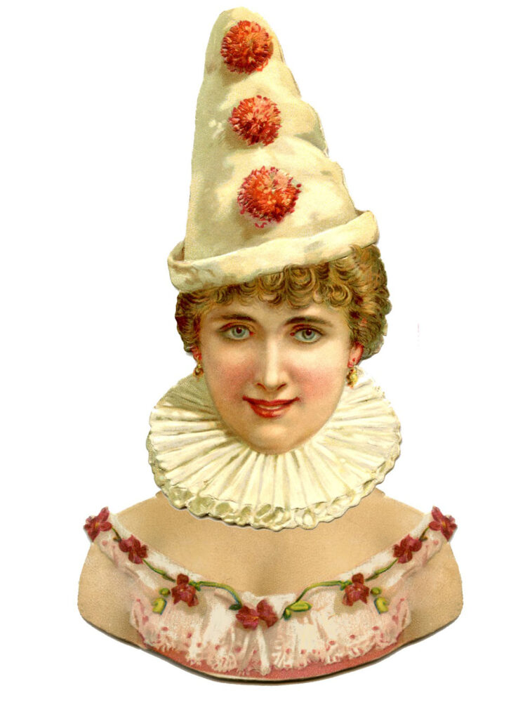 paper doll head Pierrot clown image