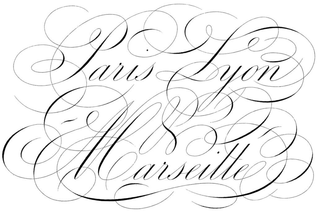 Paris script lettering vintage clipart