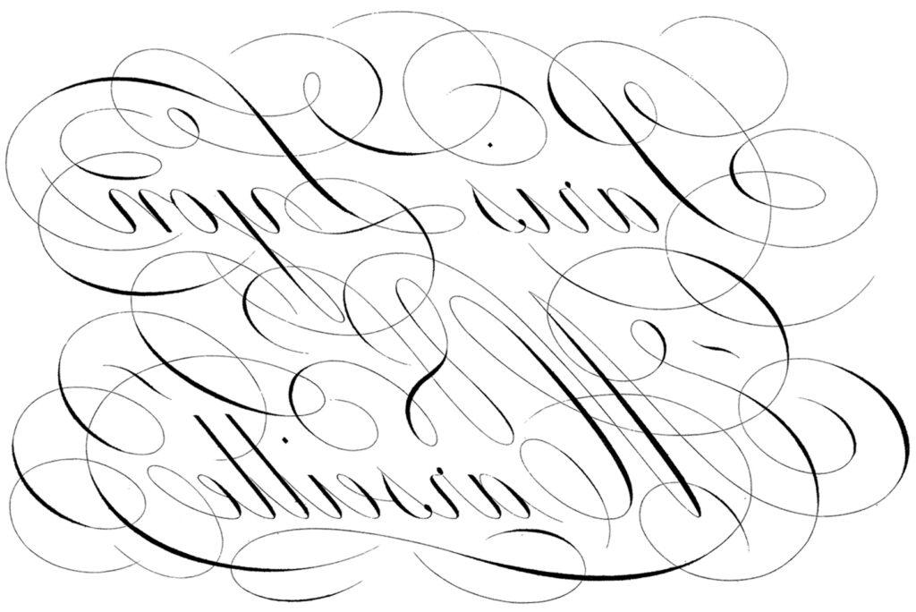 vintage script Paris France lettering reverse transfer image