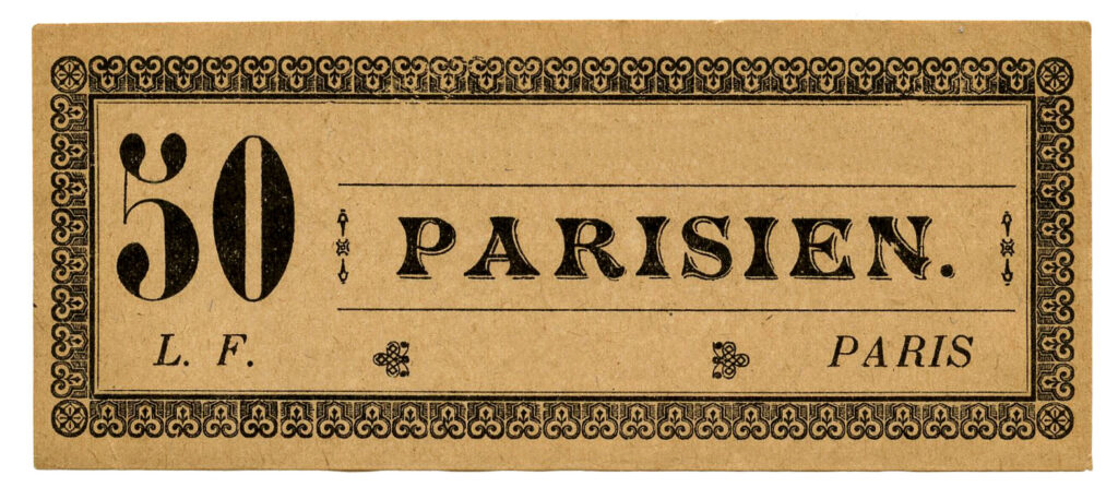 vintage Paris label ticket image with blank section