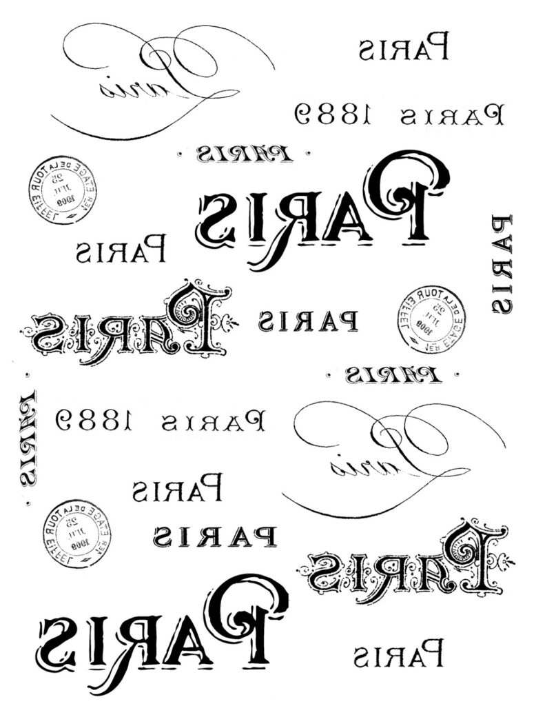 vintage Paris typography reverse transfer image