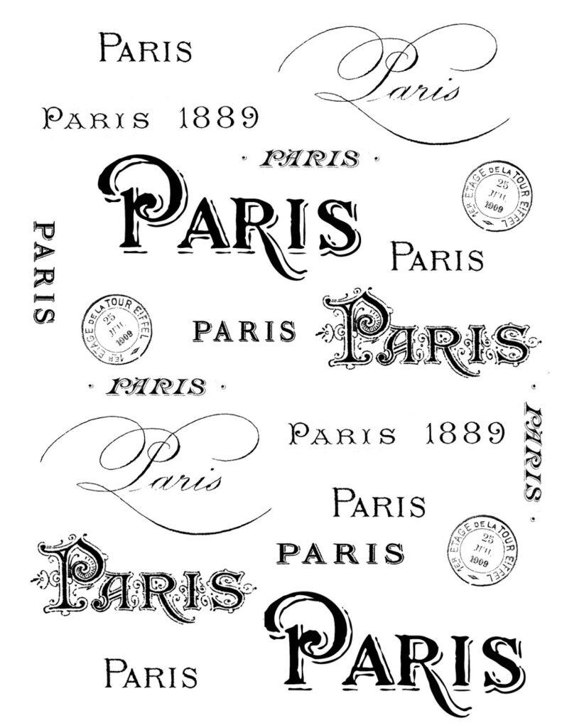 Paris typography black white clipart