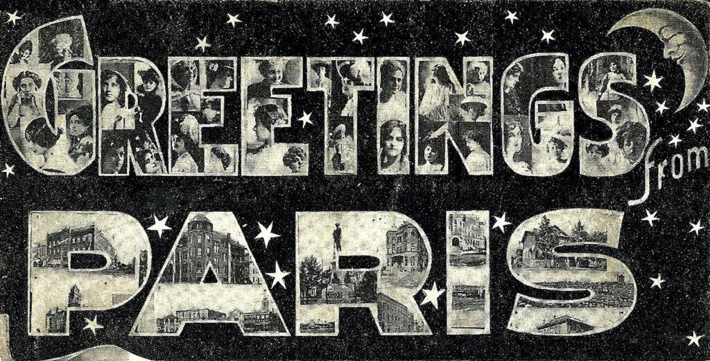 Paris vintage postcard clipart