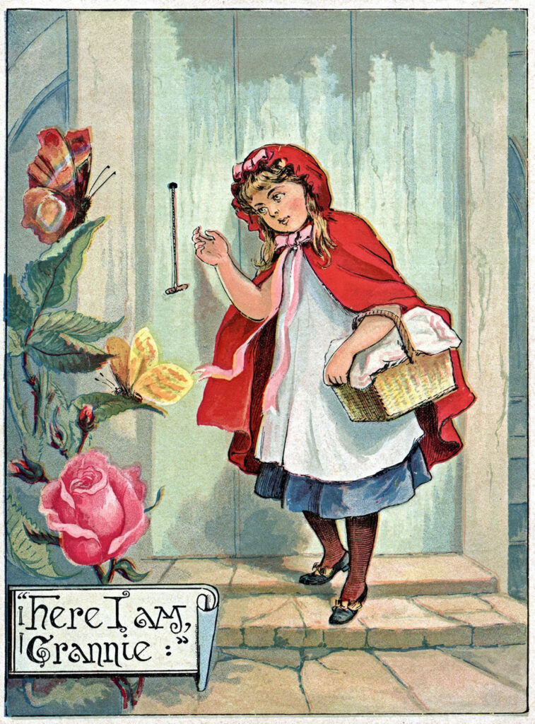 Red Riding Hood red cape door rose image