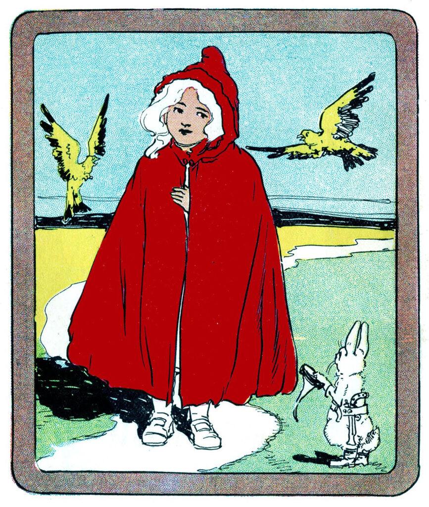 vintage Red Riding Hood cape birds rabbit illustration