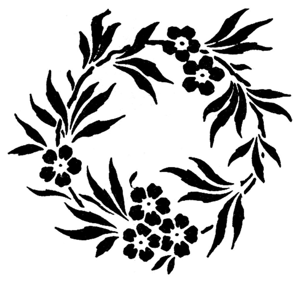 black floral wreath stencil image