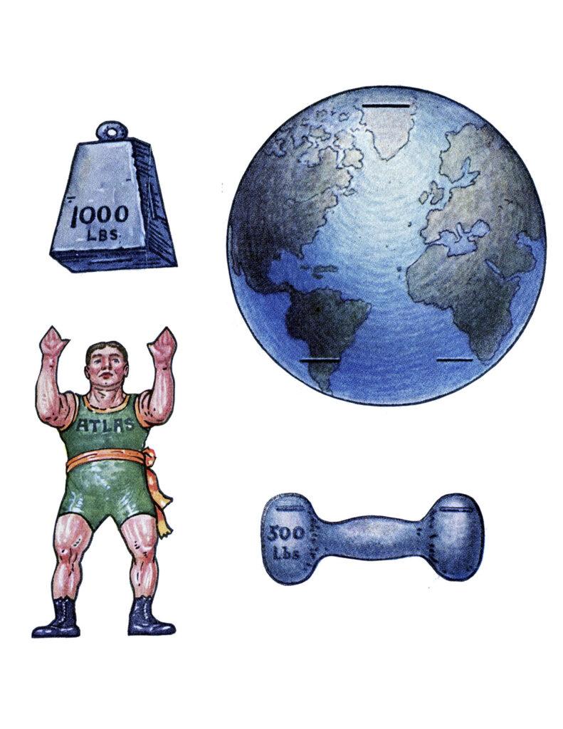 Vintage Strong man paper doll illustration
