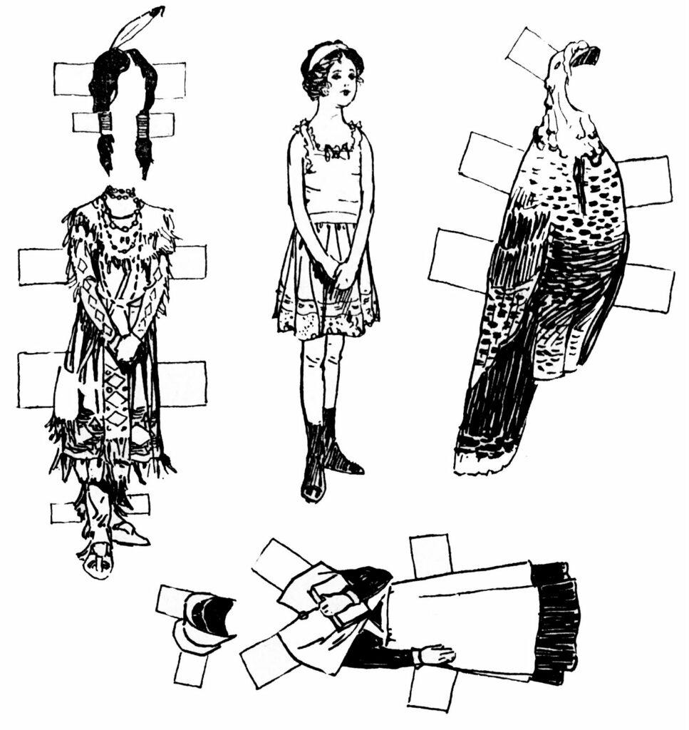 vintage Thanksgiving paper dolls clipart