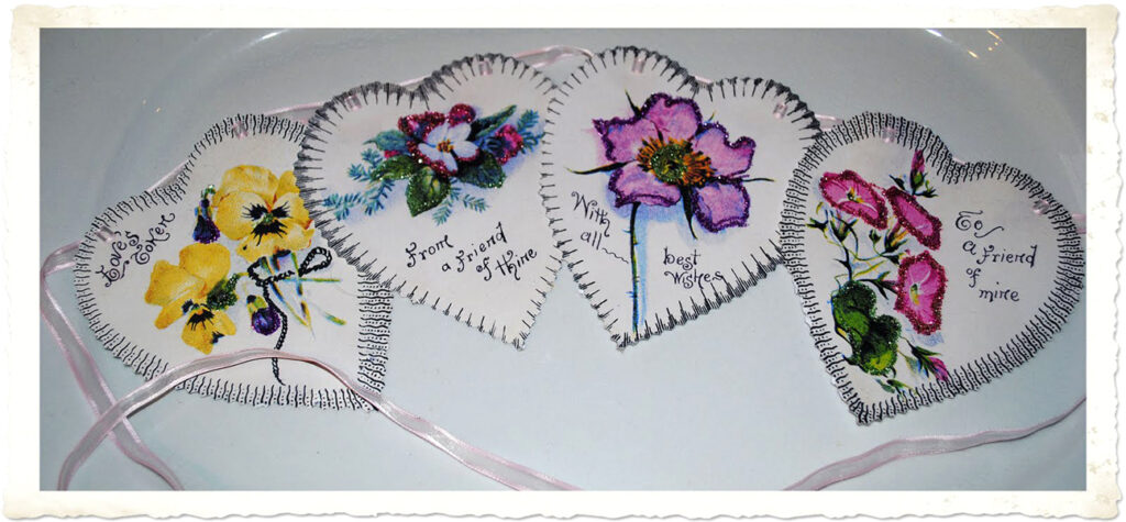 All 4 Hearts with Flowers on Platter