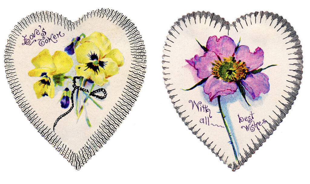 2 Hearts with Pink and Yellow Flowers