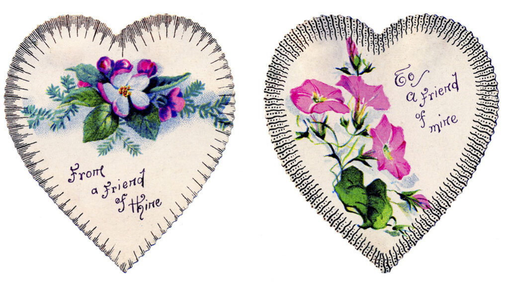 2 Hearts with Pink Flowers