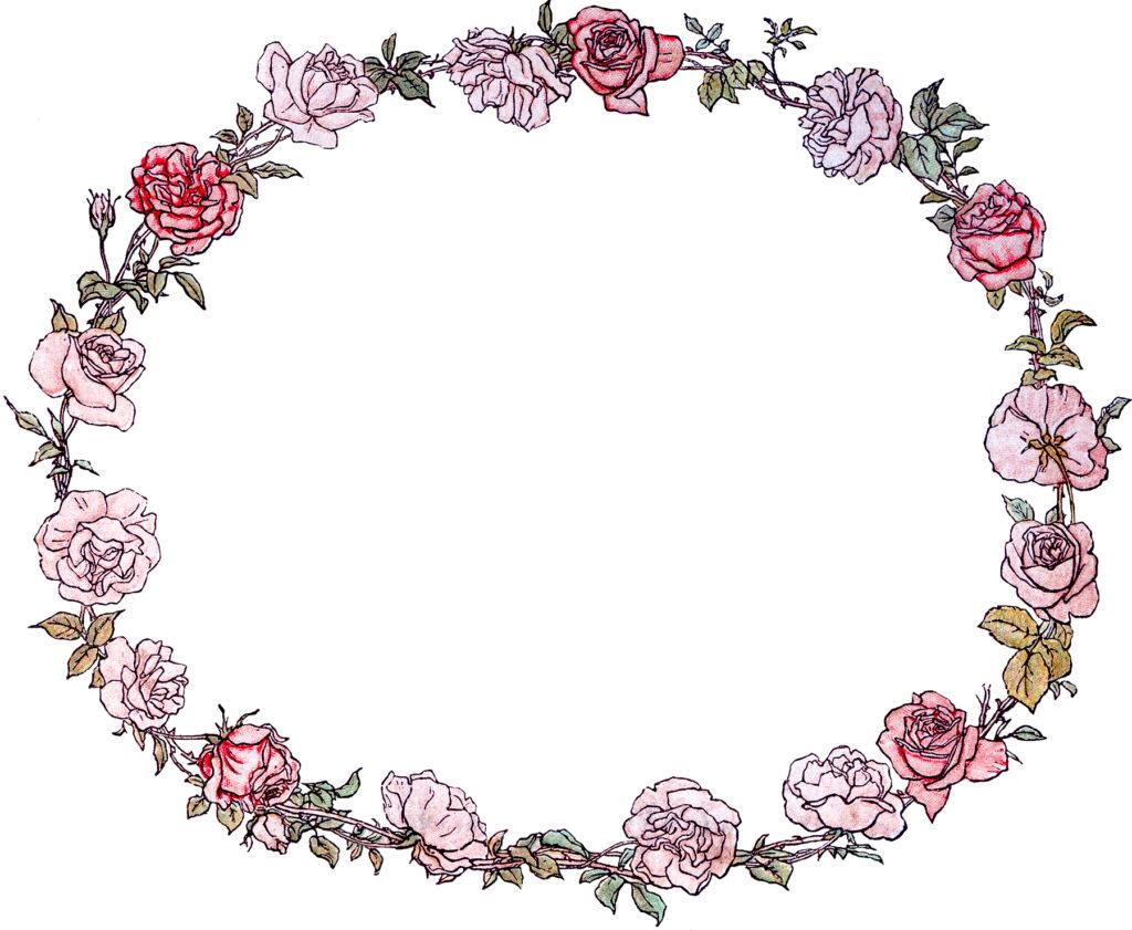 vintage pink rose floral wreath clipart