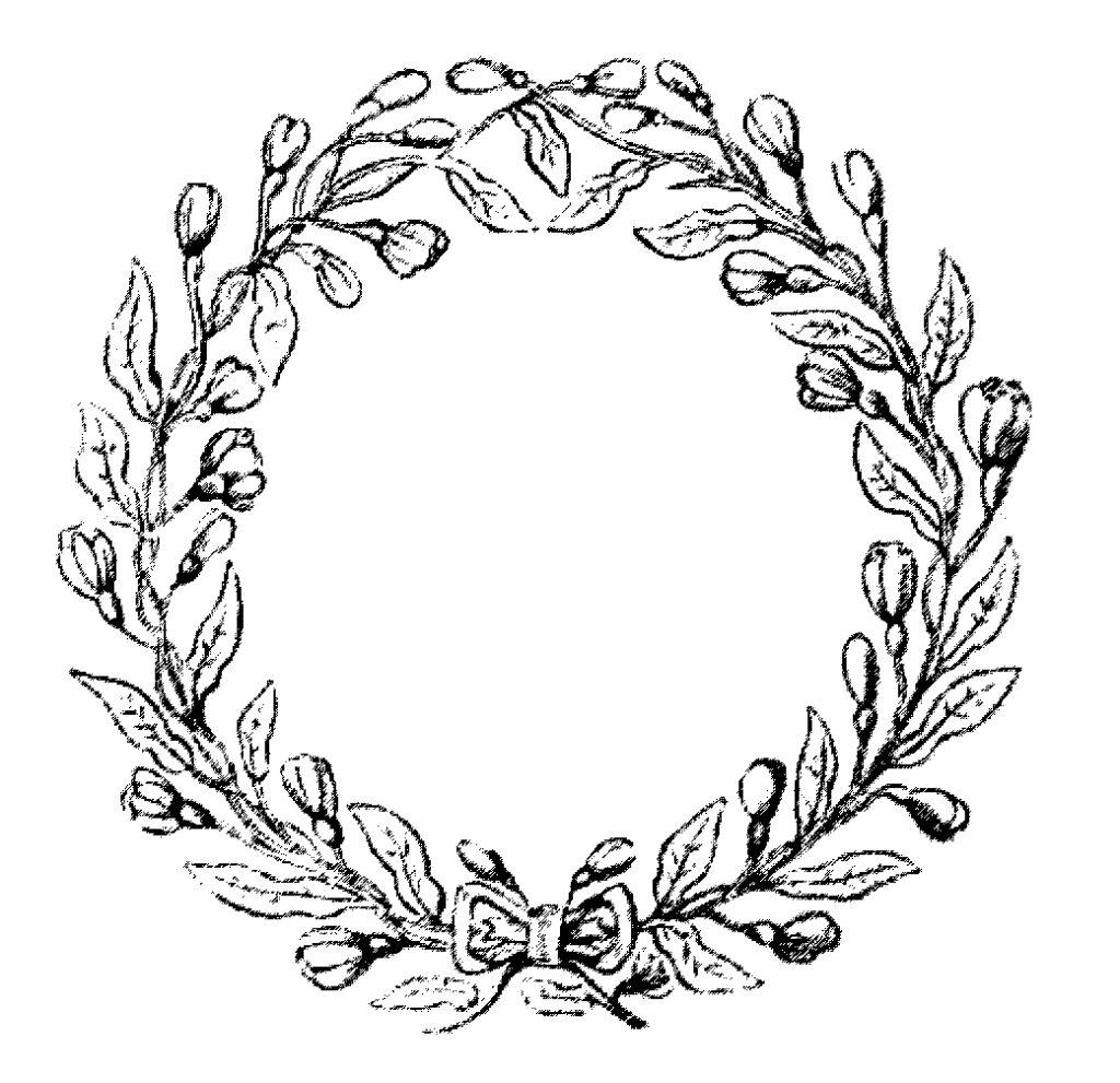floral round wreath frame image