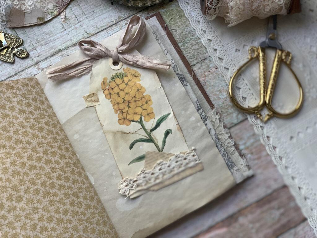 yellow floral ephemera journal page