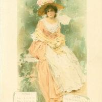 calendar lady pink dress hat flowers clipart