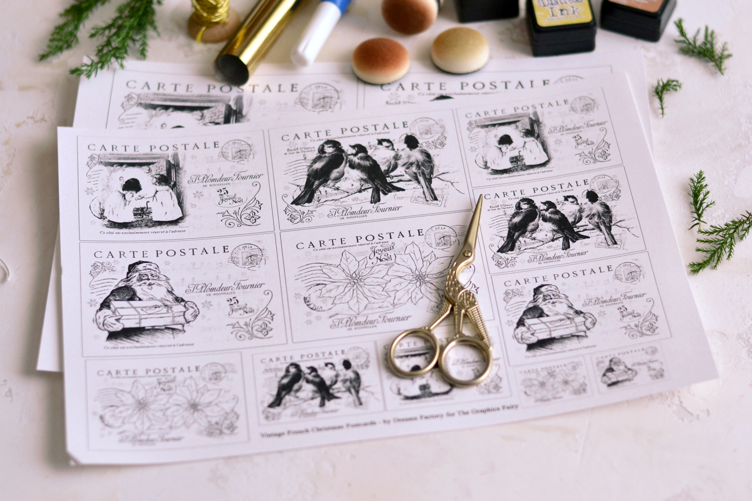 All the supplies needed to create the Gold foil Christmas Postcards