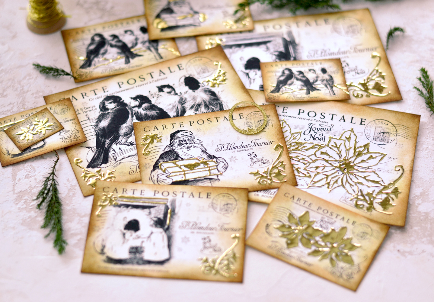 Revealing the final gold foil results for the DIY Gold Foil Christmas Postcards project!