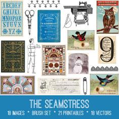 vintage the seamstress ephemera bundle