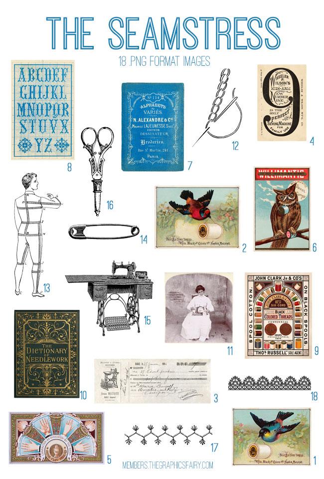 vintage the seamstress ephemera digital image bundle