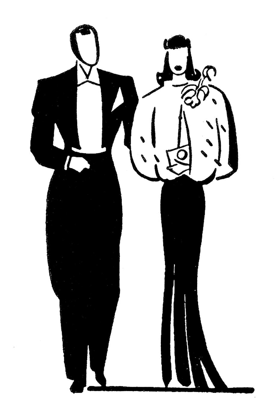 Retro clip art couples anniversary