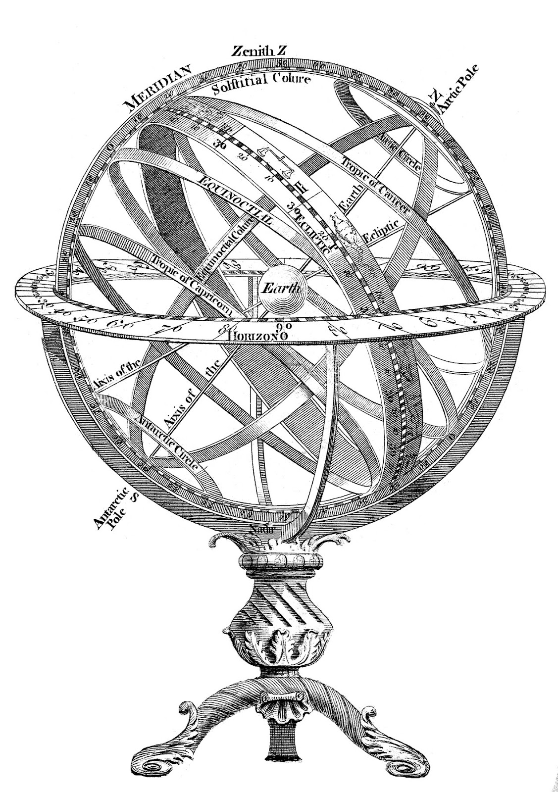 Designs Of Pen Stand : Instant art printable superb armillary sphere