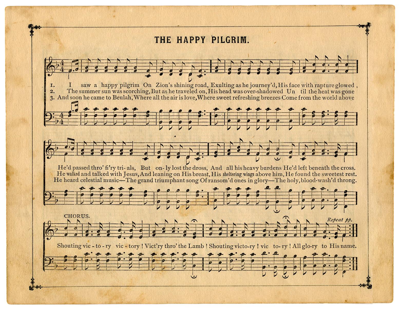 Punchy image throughout vintage sheet music printable