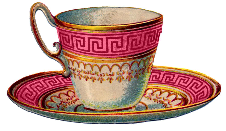 Vintage Tea Cups Part - 38: Vintage Images - 2 Pretty Colorful Teacups - The Graphics Fairy