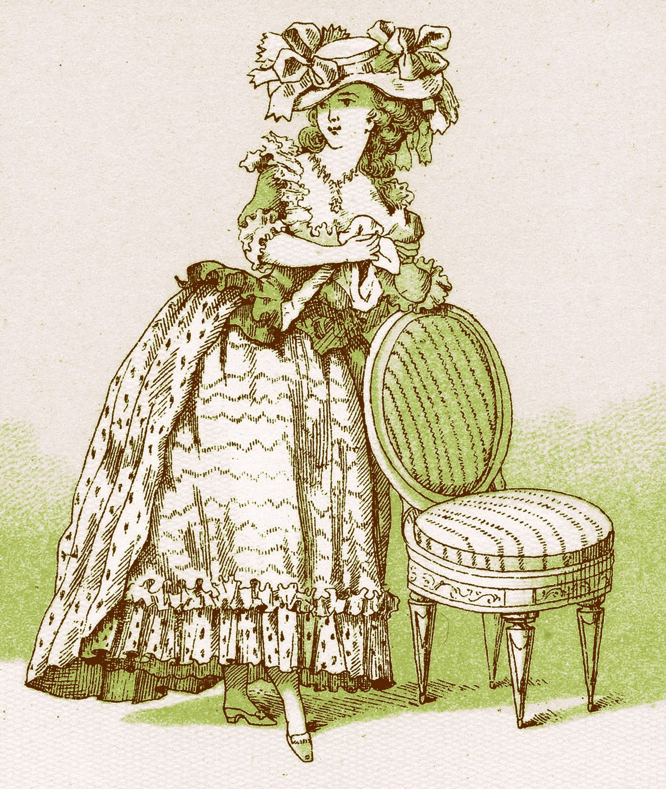 Vintage French Clip Art Marie Antoinette Esque Lady With Chair