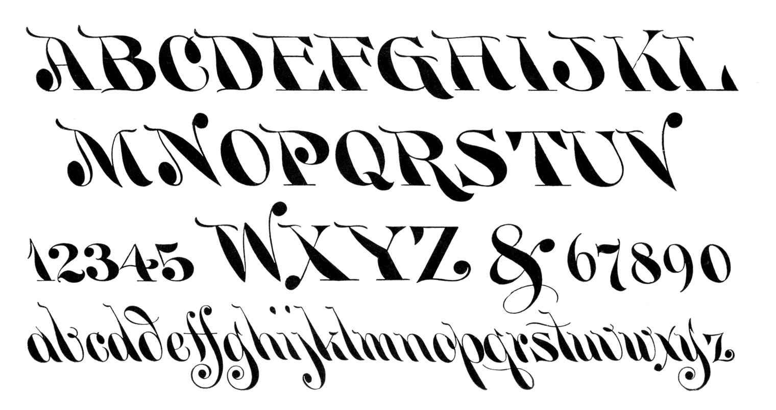 Vintage Clip Art Typography Alphabet Numbers The