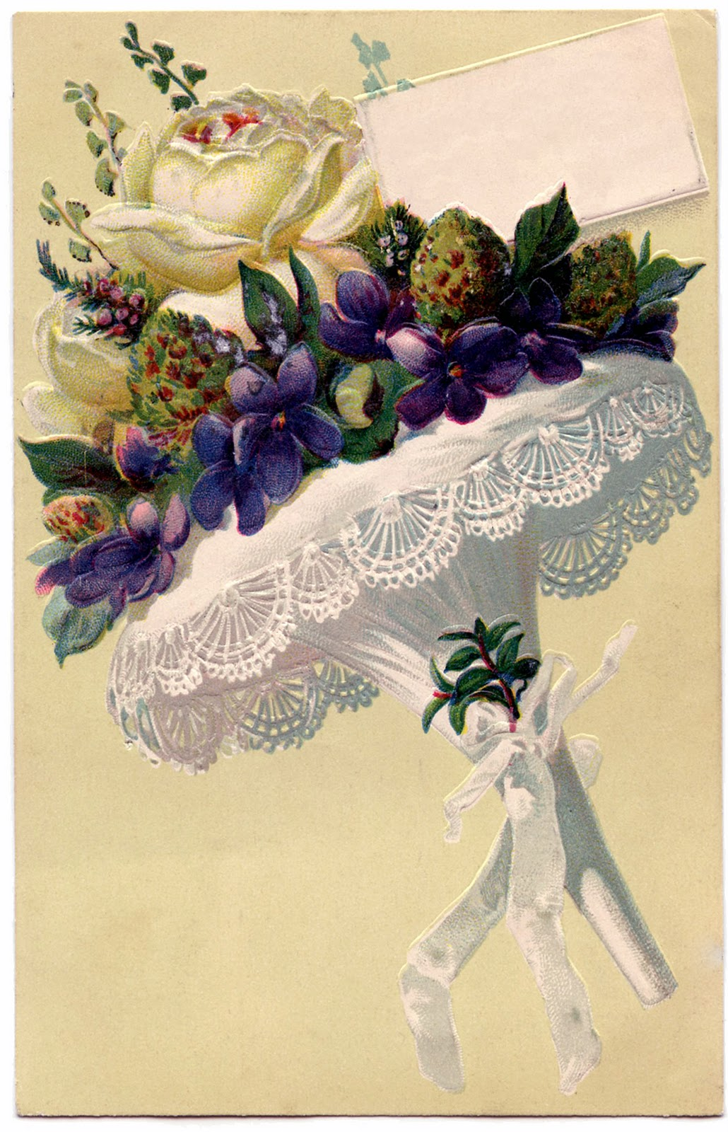 Victorian Graphic - French Flower Bouquet with Lace - The Graphics Fairy