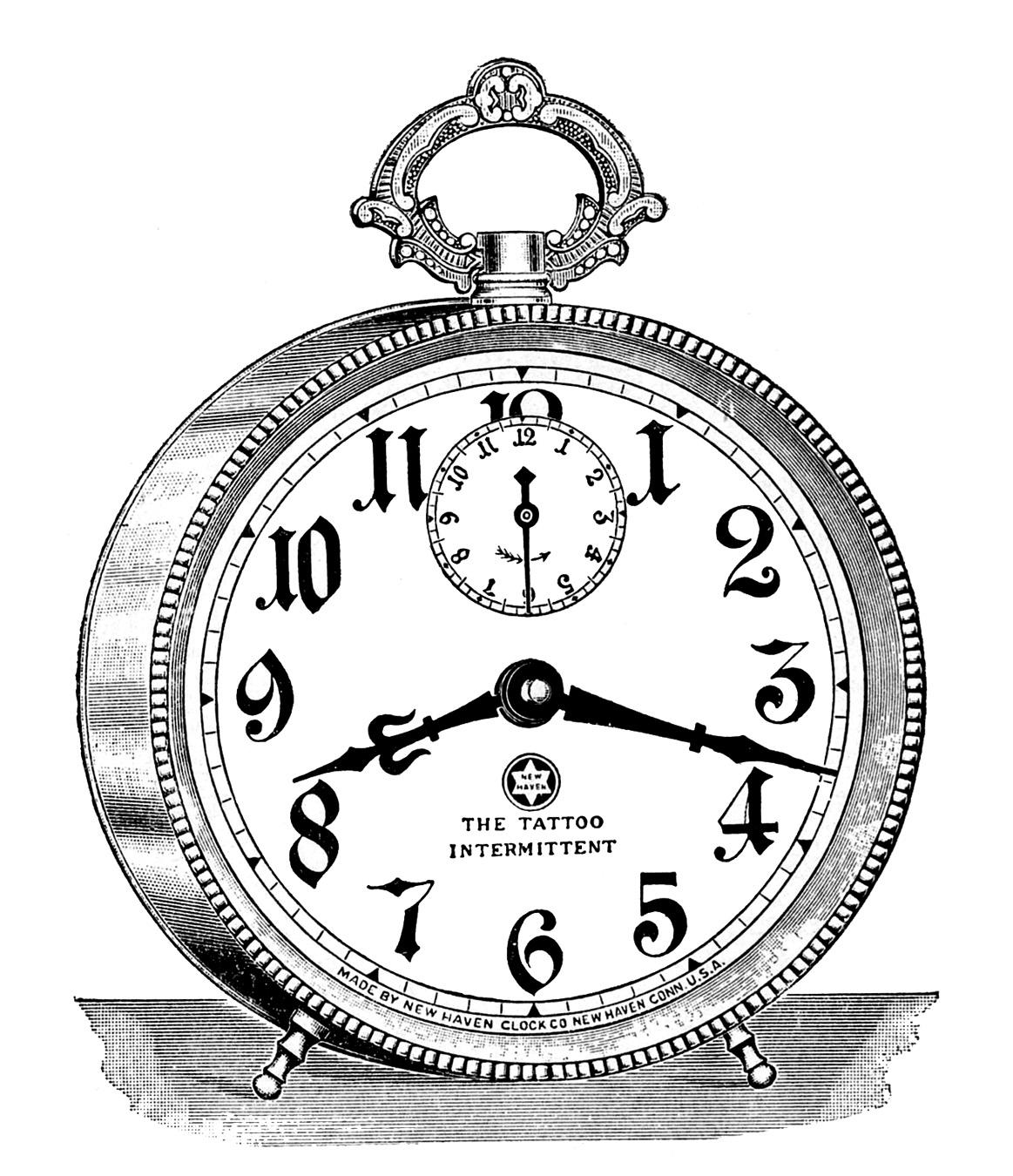 Vintage Clip Art Fancy Alarm Clock Steampunk The