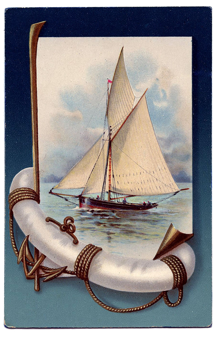 Vintage Nautical Clip Art - Beautiful Sailboat - The Graphics Fairy
