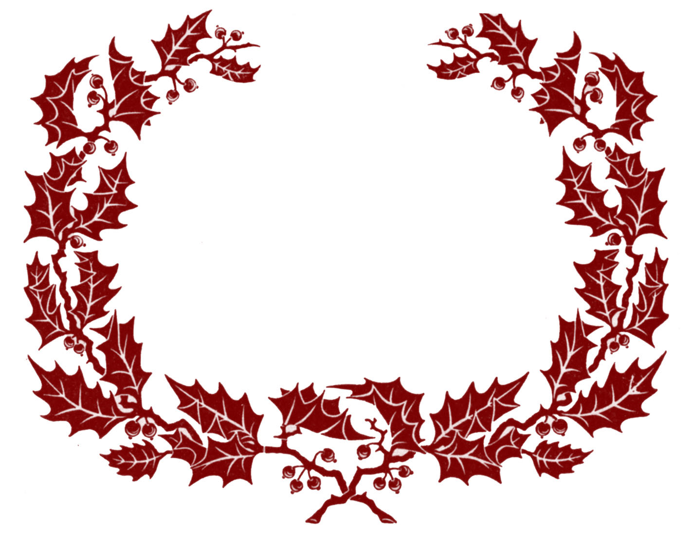 Vintage clip art holly wreath graphic frame